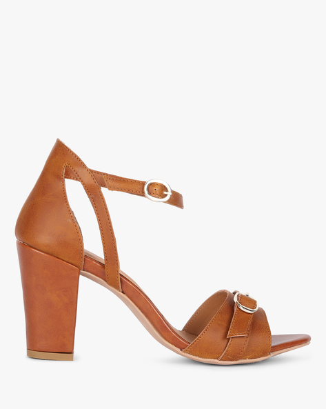 Ankle-Strap Sandals With Chunky Heels By AJIO ( Tan )