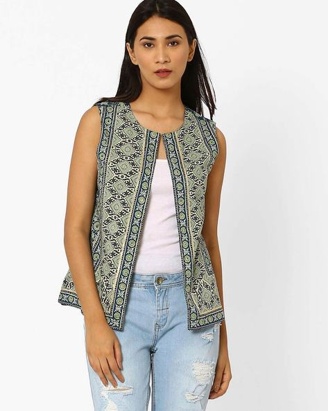 Printed Open-Front Jacket By SIYAHI ( Blue )