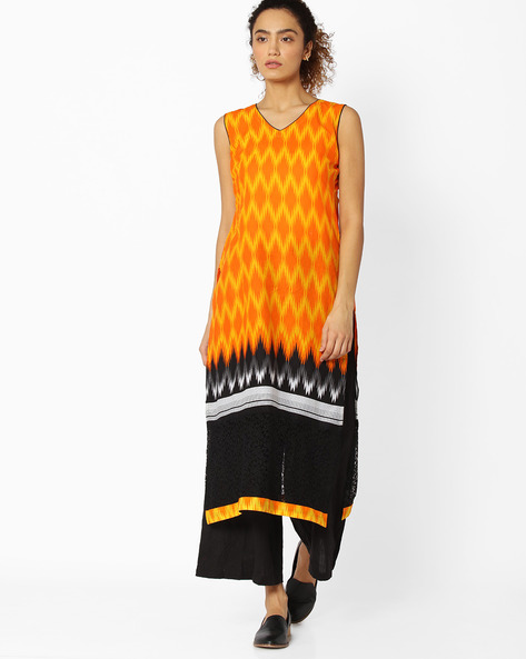 Sleeveless Printed Kurta By Libas ( Orange )