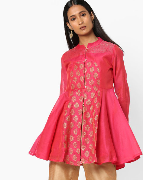 Embroidered Flare Tunic With Mandarin Collar By AJIO ( Fuchsia )