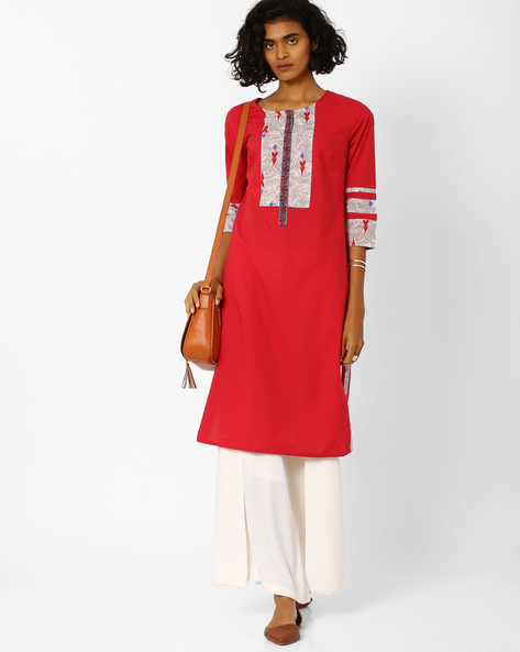 Straight Kurta With Printed Panels By AJIO ( Red )