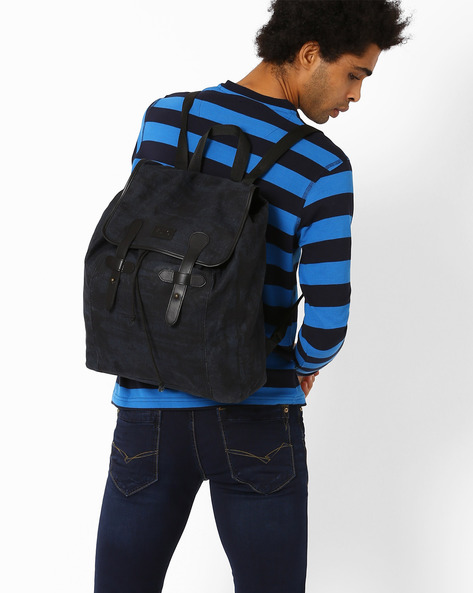 Denim Canvas Backpack By AJIO ( Blue )