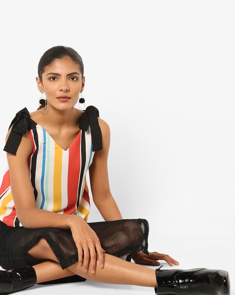 Striped Top With Tie-Up By AJIO ( Offwhite )