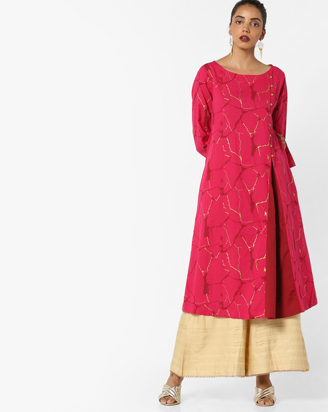 Printed A-line Kurta By Project Eve IW Casual ( Fuchsia )
