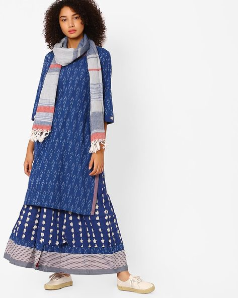 Printed Kurta With Palazzo Pants And Dupatta By Biba ( Indigo )