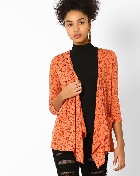 Printed Waterfall Shrug By AJIO ( Orange )