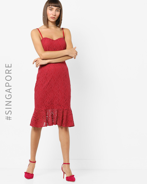 Strappy Lace Dress With Mermaid Hemline By MDS ( Red )