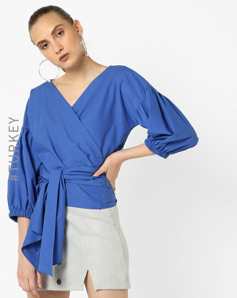 Cotton Top With Surplice Neckline By TRENDYOL ( Blue )