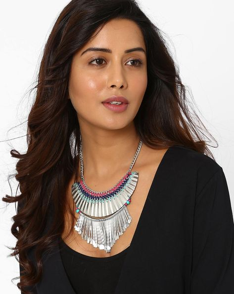 Hammered Fringe Tribal Necklace By AJIO ( Silver )