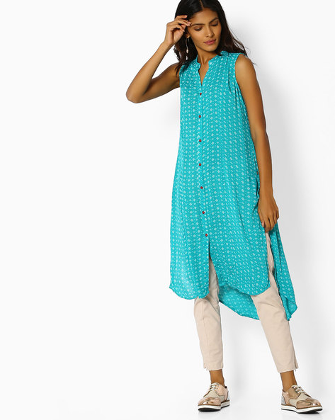 All-Over Print Sleeveless Kurta By AVAASA MIX N' MATCH ( Teal )