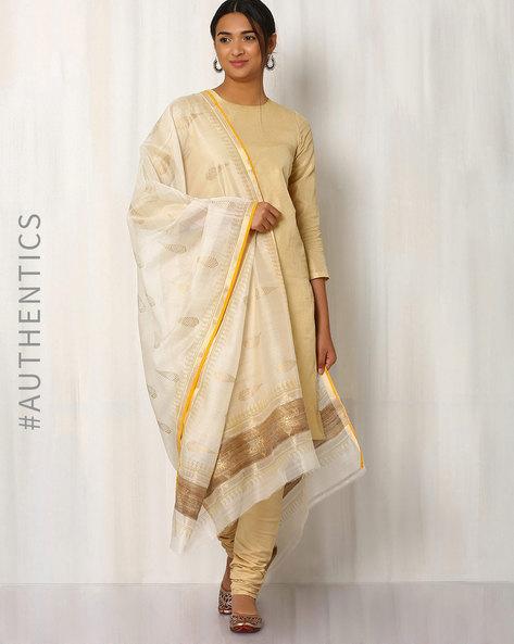 Hand Block Print Maheshwari Dupatta By Indie Picks ( Offwhite ) - 460017097001