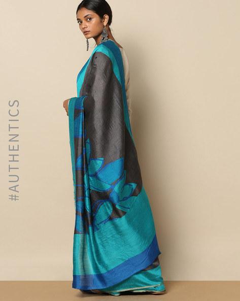 Pure Silk Tussar Abstract Print Designer Saree By Rudrakaashe-MSU ( Black ) - 460153750001