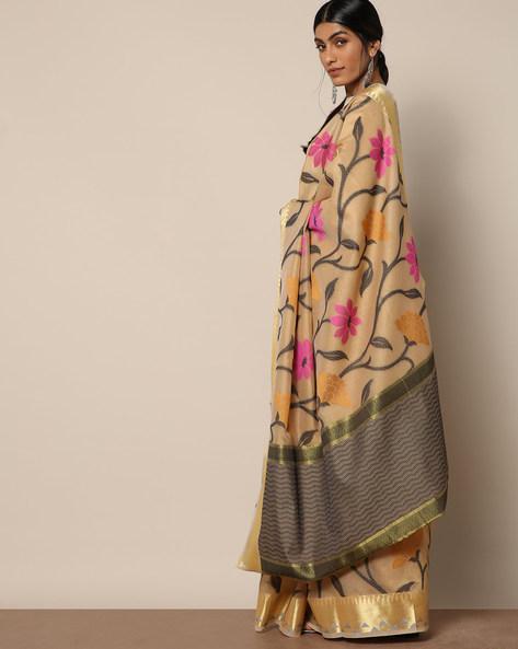 Banarasi Silk Cutwork Floral Jaal Saree By Banarasi Style ( Brown )