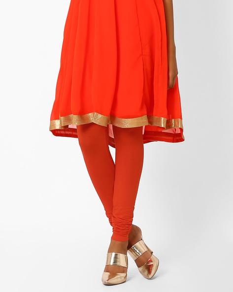 Cotton Lycra Churidar Leggings By AJIO ( Orange )