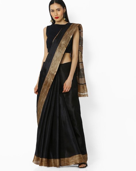 Woven Saree With Contrast Border By Amori ( Black )