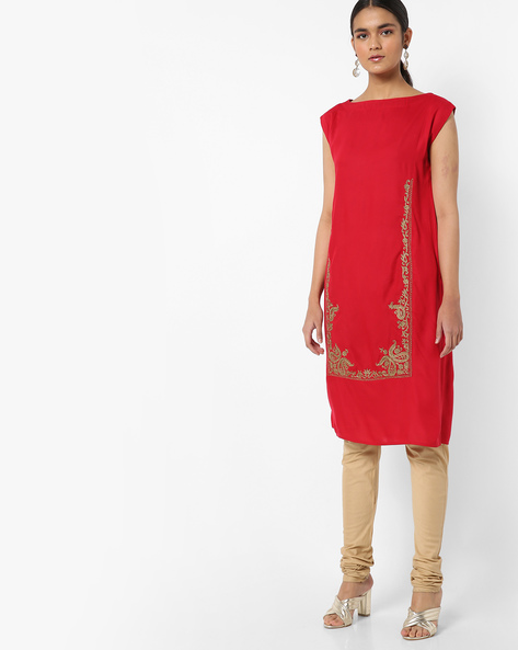 Straight Kurta With Embroidery By AJIO ( Red )