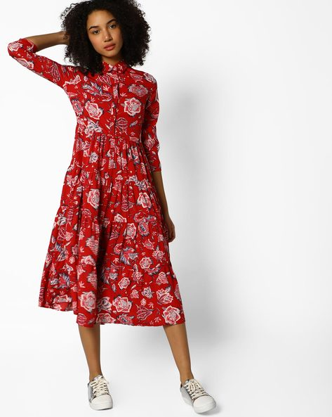 Collared Floral Print Dress By Femella ( Red )