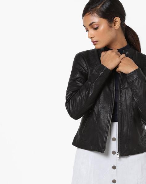 Front-Zip Collared Jacket By Vero Moda ( Black )
