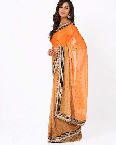 Embroidered Crepe Jacquard Ombre-Dyed Saree By Majestic Silk ( Orange )