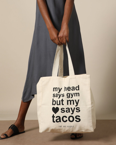 Typographic Print Cotton Canvas Tote Bag By The Art People ( White )