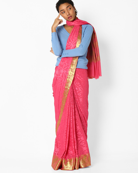 Jacquard Saree With Zari Border By Amori ( Pink )