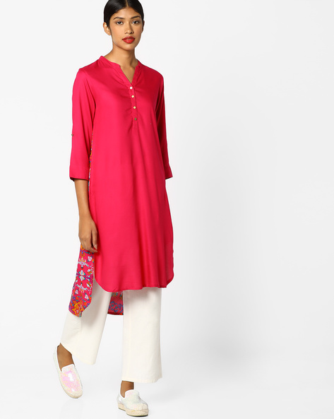 Floral Print High-Low Kurta By Melange By Lifestyle ( Fuschia )