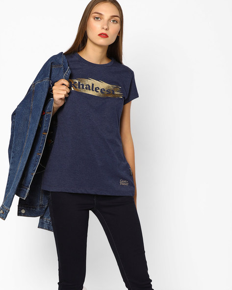 Khaleesi Print Crew-Neck T-shirt By Free Authority ( Navy )