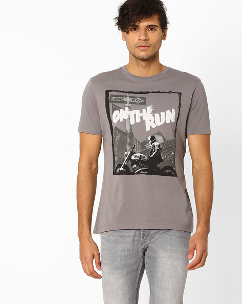 Ride-Ready Graphic Print Cotton T-shirt By WRANGLER ( Grey )