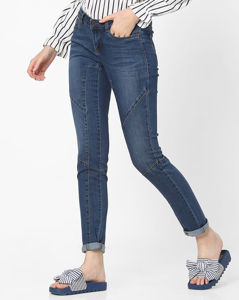 Lightly Washed Slim Fit Jeans By Vero Moda ( Fuschiablue )