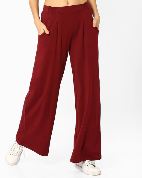 Wide-Leg Pants With Pleat Detail By AJIO ( Maroon )
