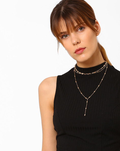 Multistrand Necklace With Beads By Pipa Bella ( Gold )