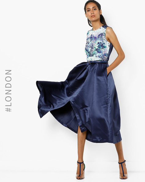 Sleeveless A-line Dress With Belt By Closet London ( Navyblue )