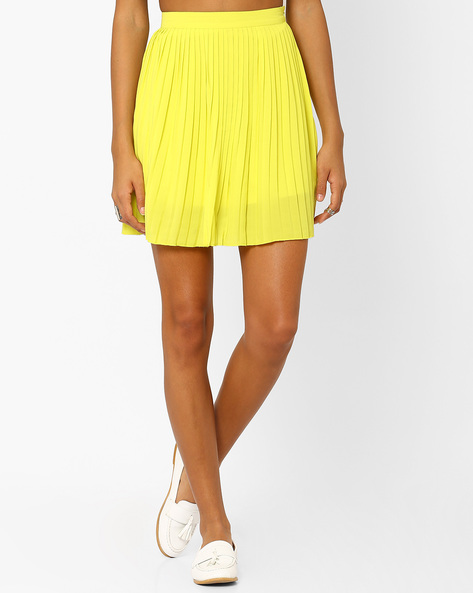 Mini Skirt With Accordian Pleats By AJIO ( Limegreen )