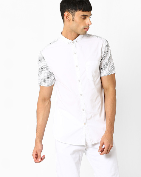 Shirt With Printed Panels By AJIO ( White )