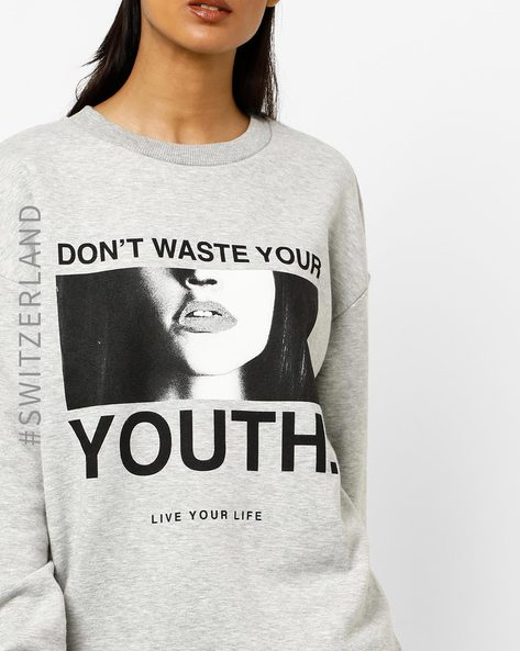 Typographic Print Crew-Neck Sweatshirt By TALLY WEiJL ( Grey )