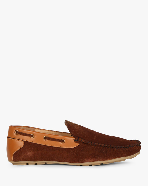 Panelled Suede Boat Loafers By ESCARO ( Brown )