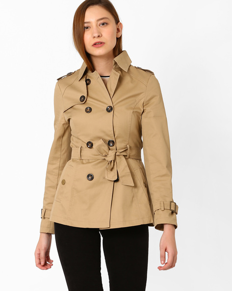 Double-Breasted Trench Coat By KRAUS ( Khaki )
