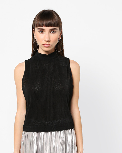 Ribbed Sleeveless Top With Tie-Up By AJIO ( Black )