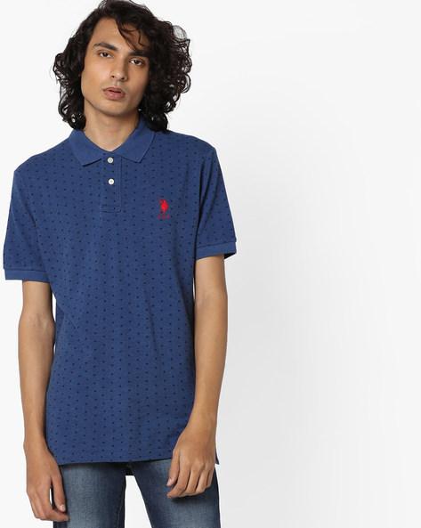 Polka-Dot Print Polo T-shirt By US POLO ( Blue )