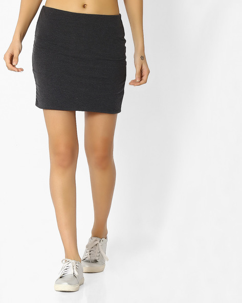 Mini Pencil Skirt By Ginger By Lifestyle ( Charcoal )