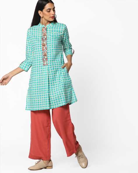 Tunic With Contrast Placket By AJIO ( Multi )