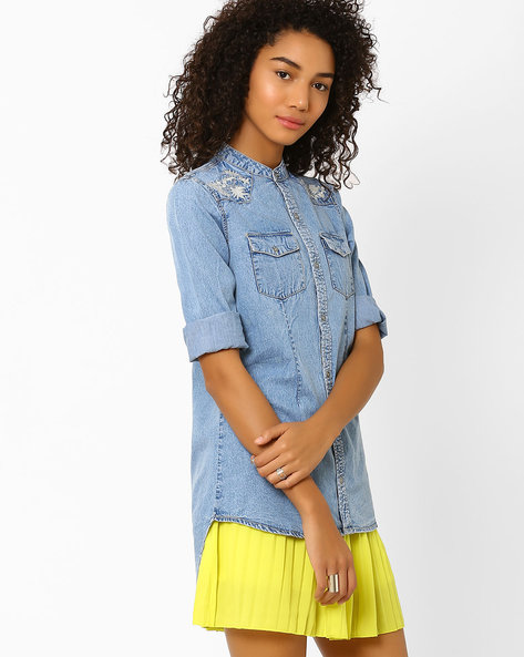 High-Low Denim Shirt By AJIO ( Lightblue )
