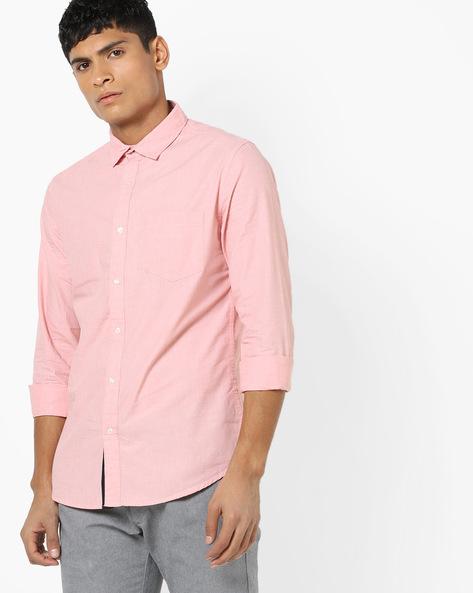 Slim Fit Shirt With Patch Pocket By Black Coffee ( Orange )