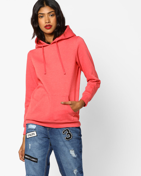 Hooded Sweatshirt With Kangaroo Pocket By Fame Forever By Lifestyle ( Rust )