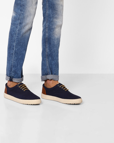 Canvas Lace-up Casual Shoes By Carlton London ( Navy )