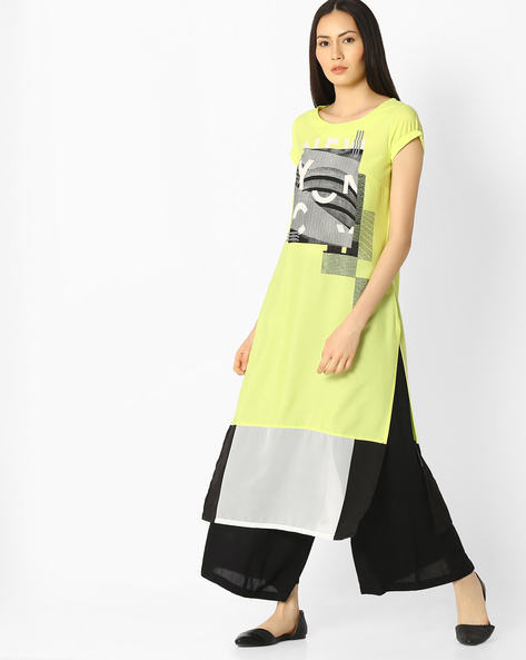 Abstract Print Straight Kurta By W ( Green )