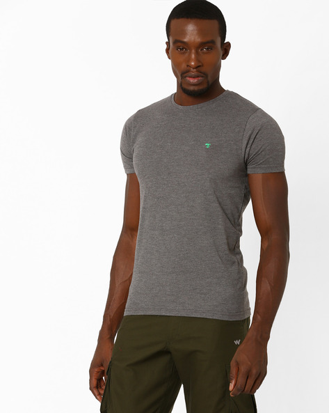 Slim Fit Crew-Neck T-shirt By The Indian Garage Co ( Lightgrey )
