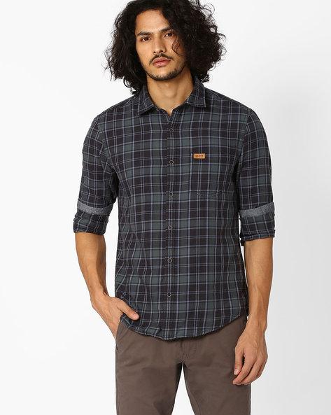 Slim Fit Checked Shirt By US POLO ( Black )
