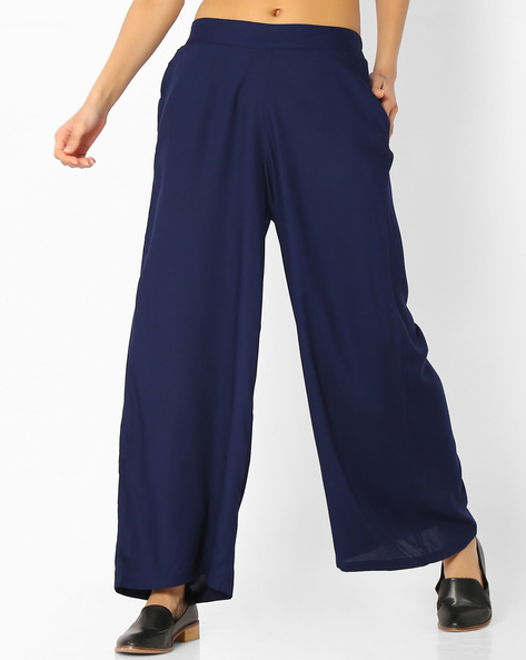 Palazzo Pants With Pockets By Melange By Lifestyle ( Navy )