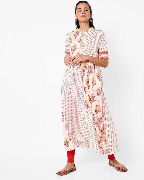 Printed Flared Kurta With Contrast Panels By AJIO ( Red )
